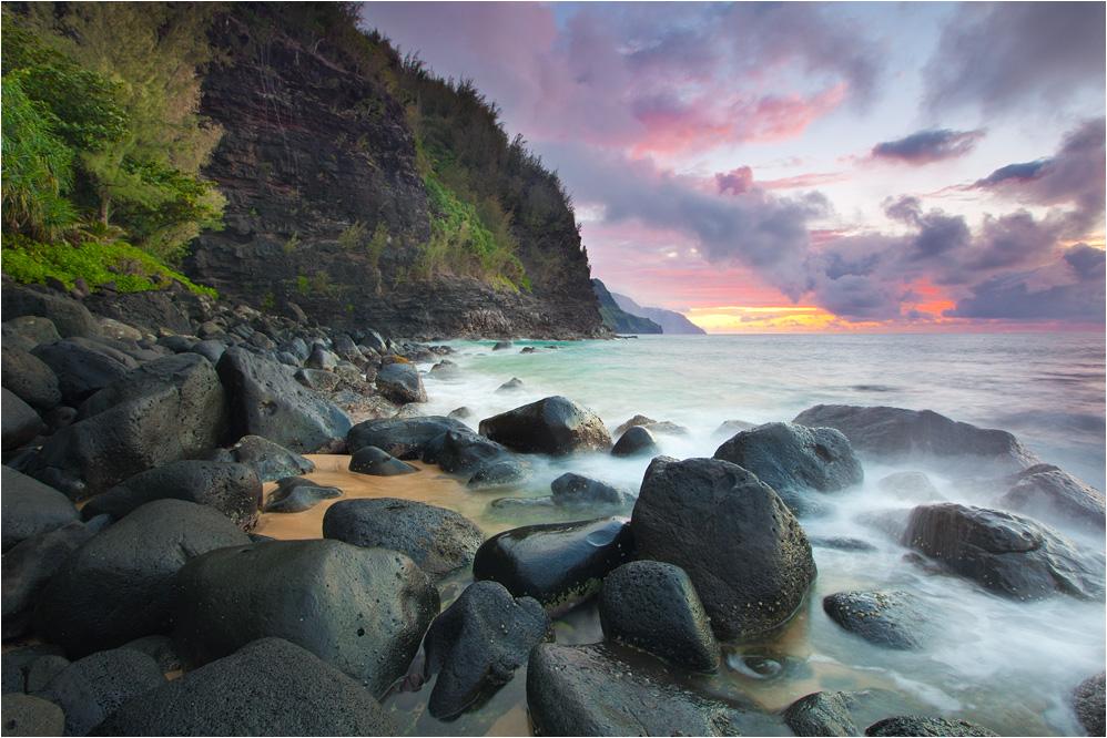 Sonnenuntergang am Ke'e Beach