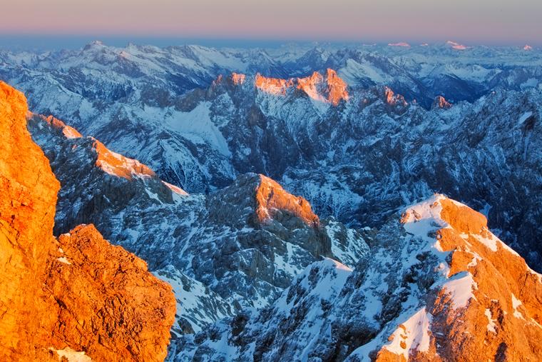 Sonnenuntergang auf der Zugspitze